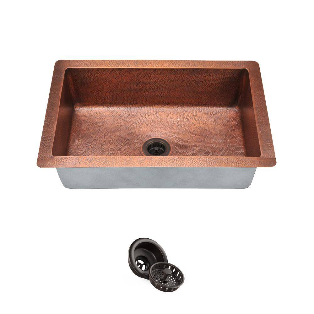 MR Direct Undermount Copper 33 in. Single Bowl Kitchen Sink with Strainer, Brown