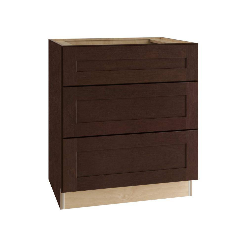 Home Decorators Collection Franklin Assembled 24x34.5x24 in. Plywood Shaker 3 Drawer Base Kitchen Cabinet Soft Close Drawers in Stained Manganite, Manganite Glaze Stain
