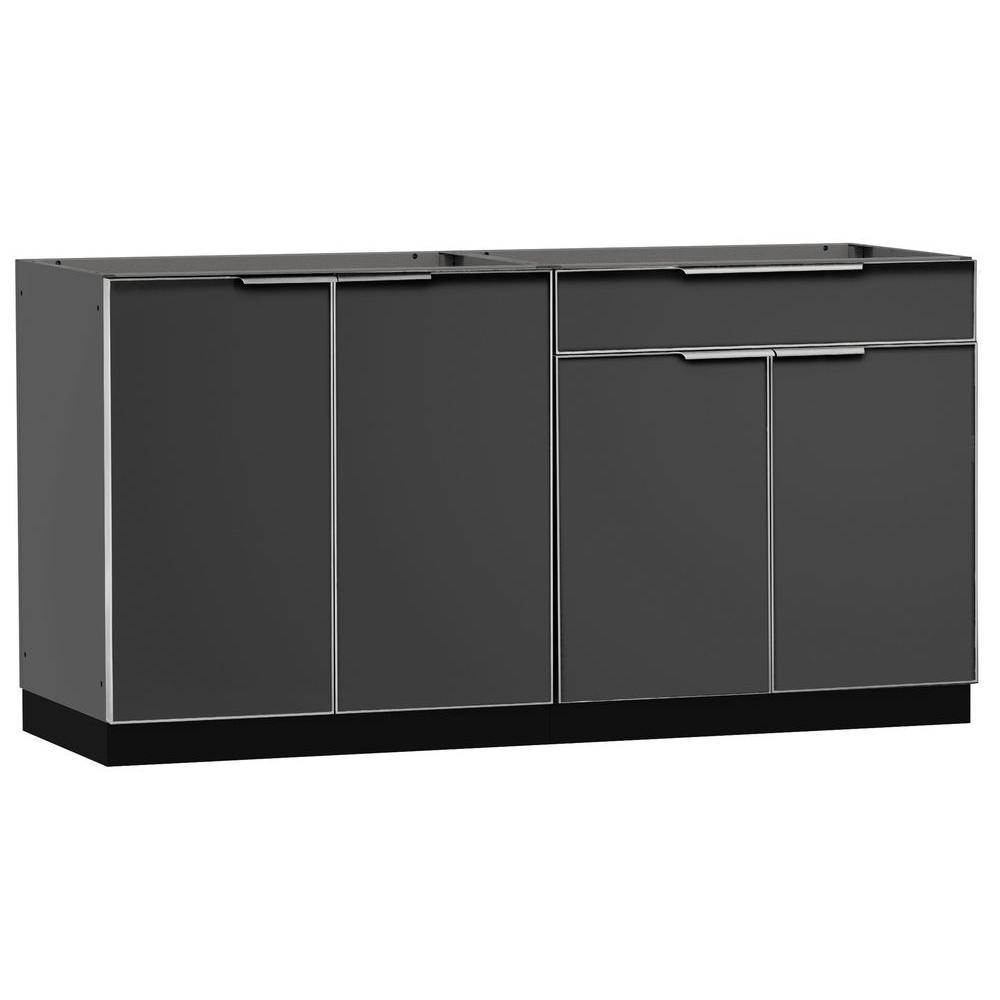 NewAge Products Slate Gray 2-Piece 64 in. W x 36.5 in. H x 24 in. D Outdoor Kitchen Cabinet Set on Casters without Counter Tops