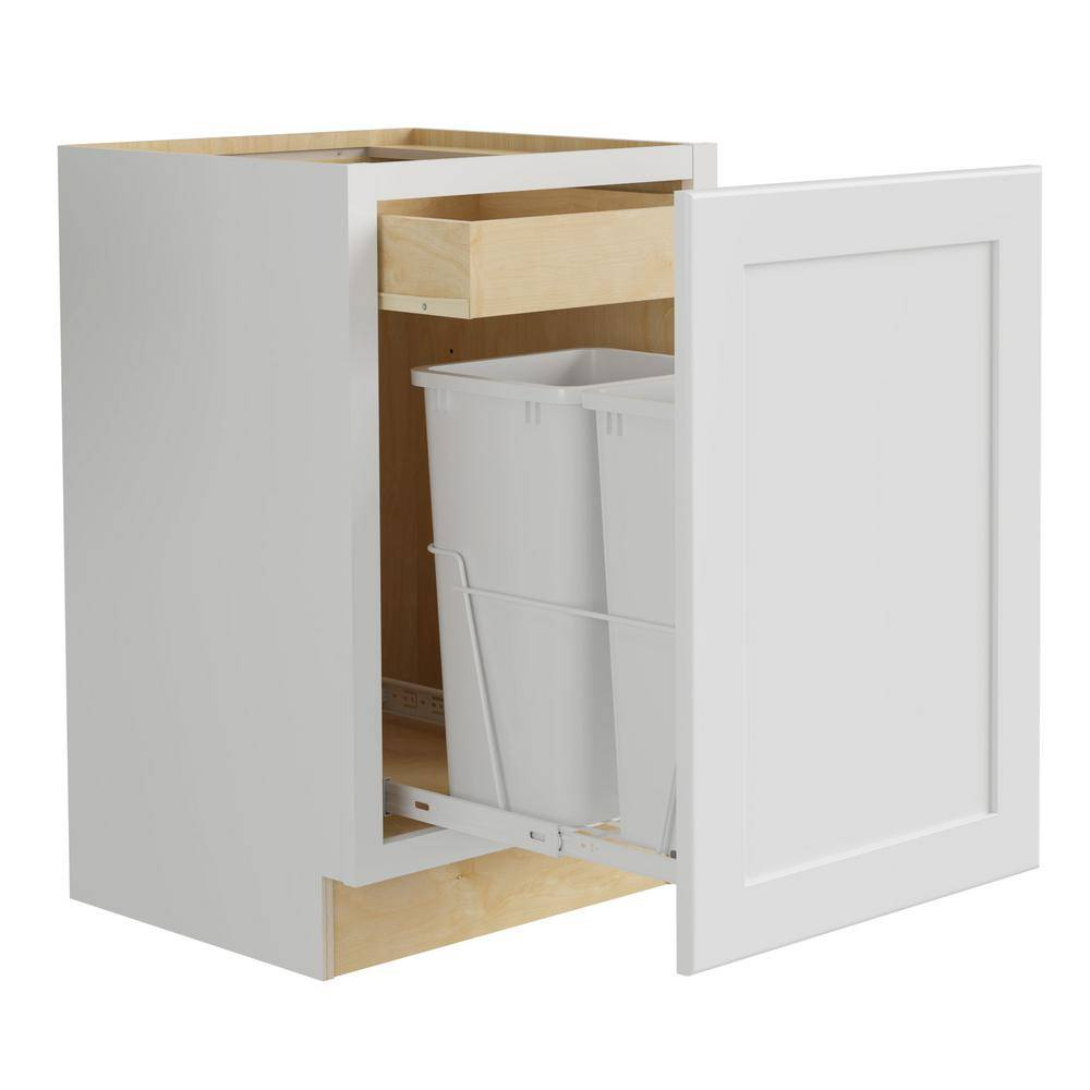 Home Decorators Collection Newport Assembled 18x34.5x24 in. Plywood Shaker Double Wastebasket Base Kitchen Cabinet in Painted Pacific White, Pacific White Painted