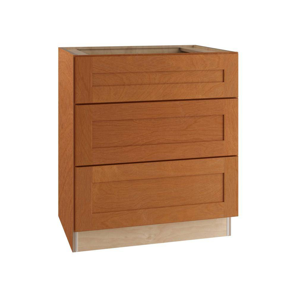 Home Decorators Collection Hargrove Assembled 30x34.5x24 in. Plywood Shaker 3 Drawer Base Kitchen Cabinet Soft Close Drawers in Stained Cinnamon, Cinnamon Stain