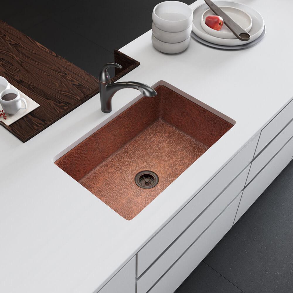 Rene Undermount Copper 33 in. Single Bowl Kitchen Sink Kit, Brown