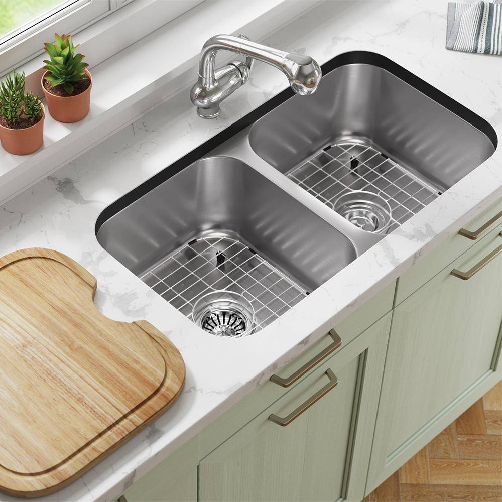 MR Direct Stainless Steel 32-1/4 in. Double Bowl Undermount Kitchen Sink with Black SinkLink and additional accessories