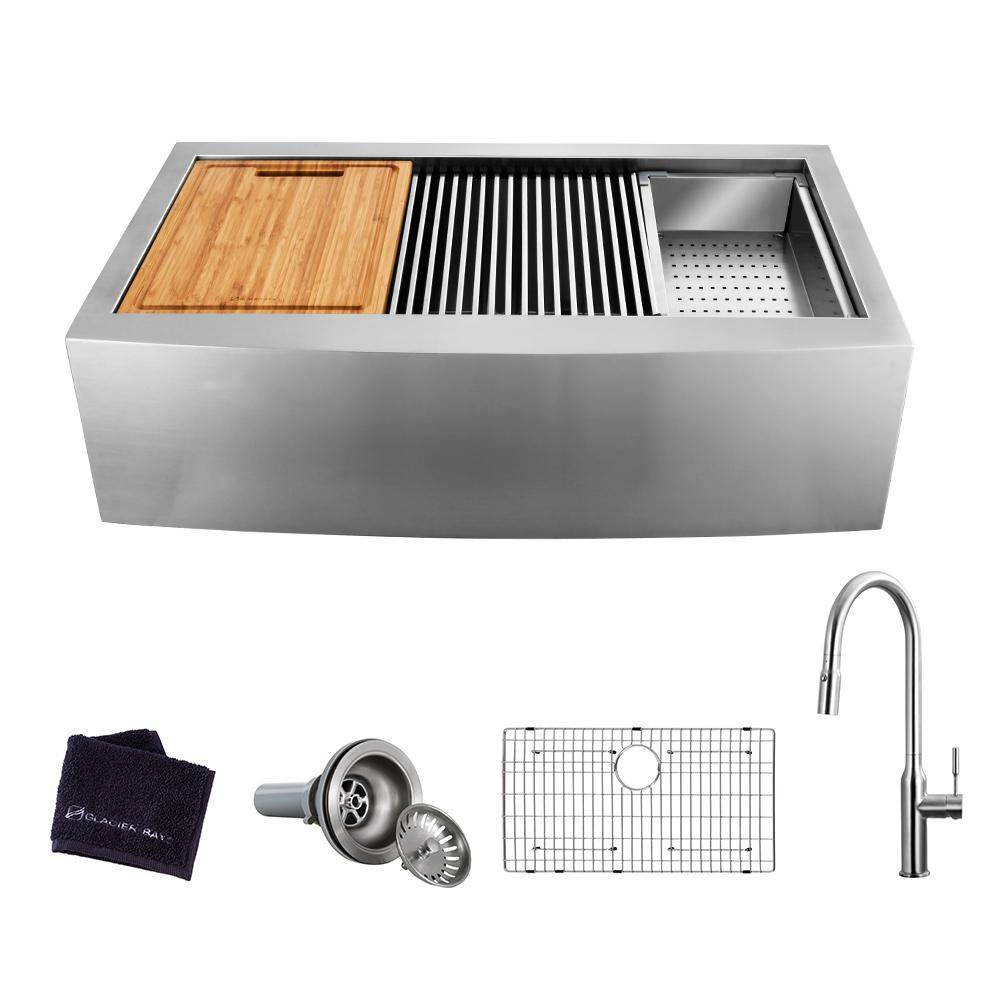 Glacier Bay All-in-One Apron-Front Farmhouse Stainless Steel 36 in. Single Bowl Workstation Sink with Faucet and Accessories, Brushed Stainless Steel