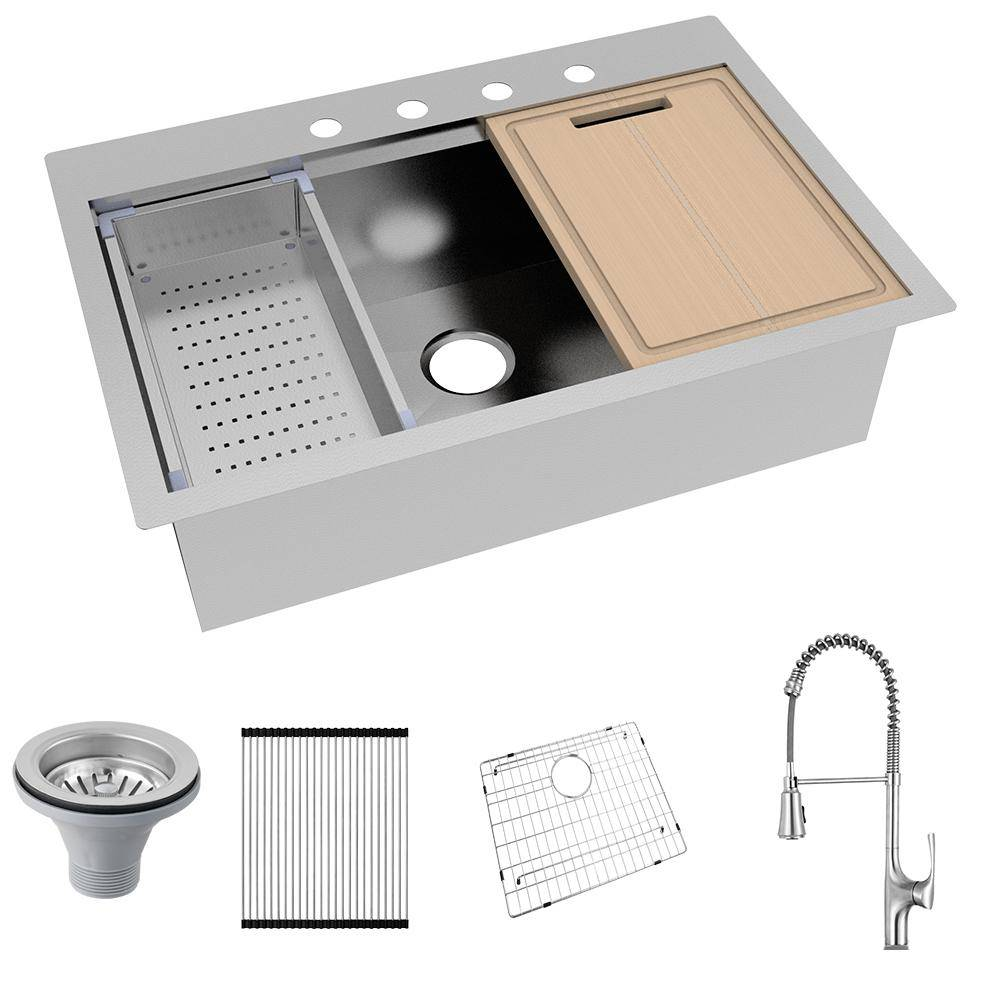 Glacier Bay All-in-One Drop-In Stainless Steel 32 in. 4-Hole Single Bowl Kitchen Workstation Sink with Faucet and Accessories, Silver