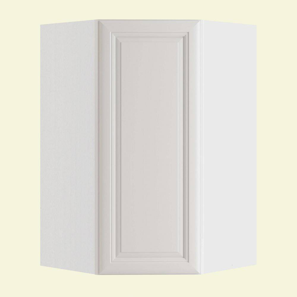 Home Decorators Collection Brookfield Assembled 24x42x12 in. Plywood Wall Angle Corner Kitchen Cabinet Soft Close Right in Painted Pacific White