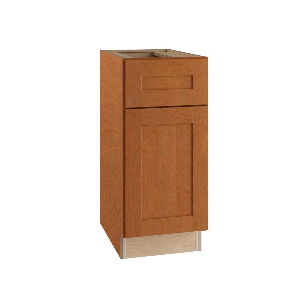 Home Decorators Collection Hargrove Assembled 15x34.5x24 in. Plywood Shaker Base Kitchen Cabinet Left 2 rollouts Soft Close in Stained Cinnamon, Red