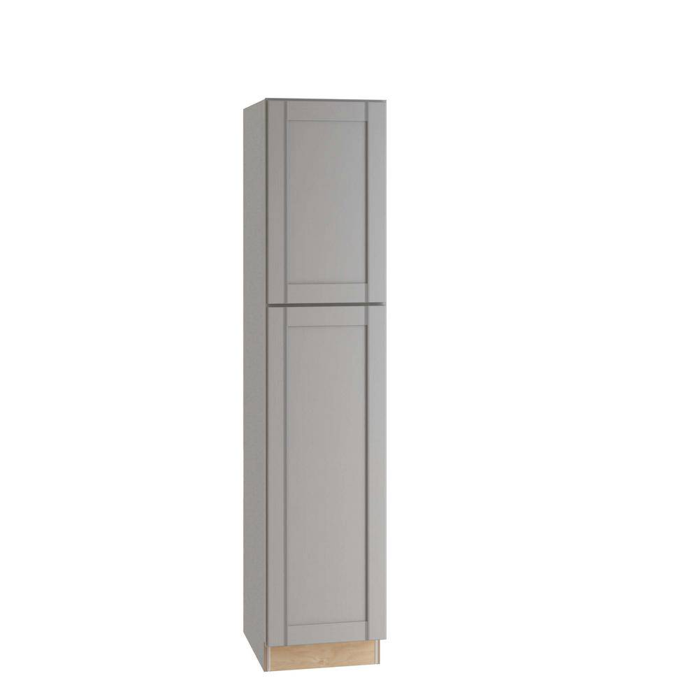 Home Decorators Collection Washgton Medium Veiled Gray Thermofoil Plywood Shaker Stock Semi-Custom Utility Kitchen Cabinet 18 in. W x 24 in. D