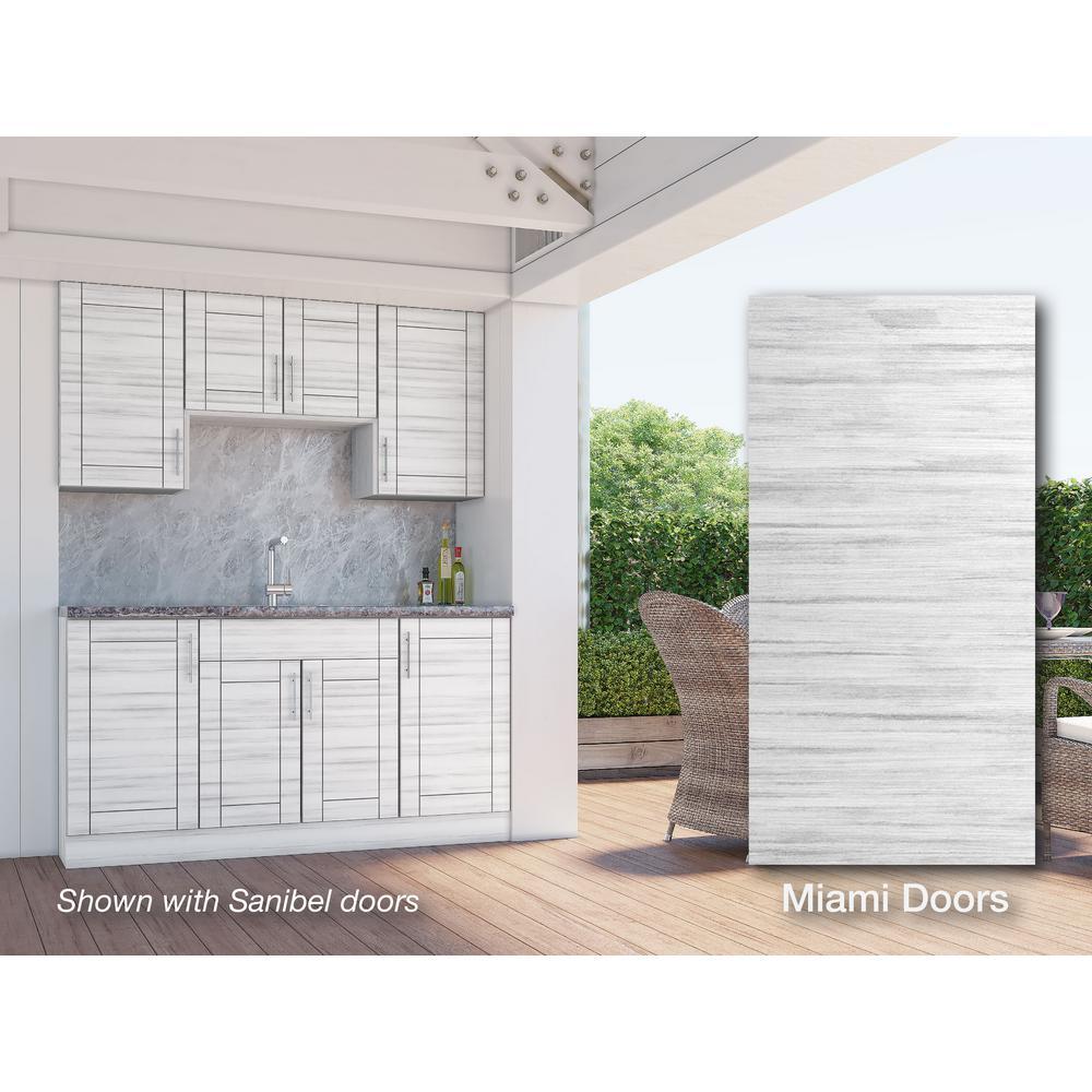 WeatherStrong Miami Whitewash 22-Piece 67.25 in. x 84 in. x 25 in. Outdoor Kitchen Cabinet Set
