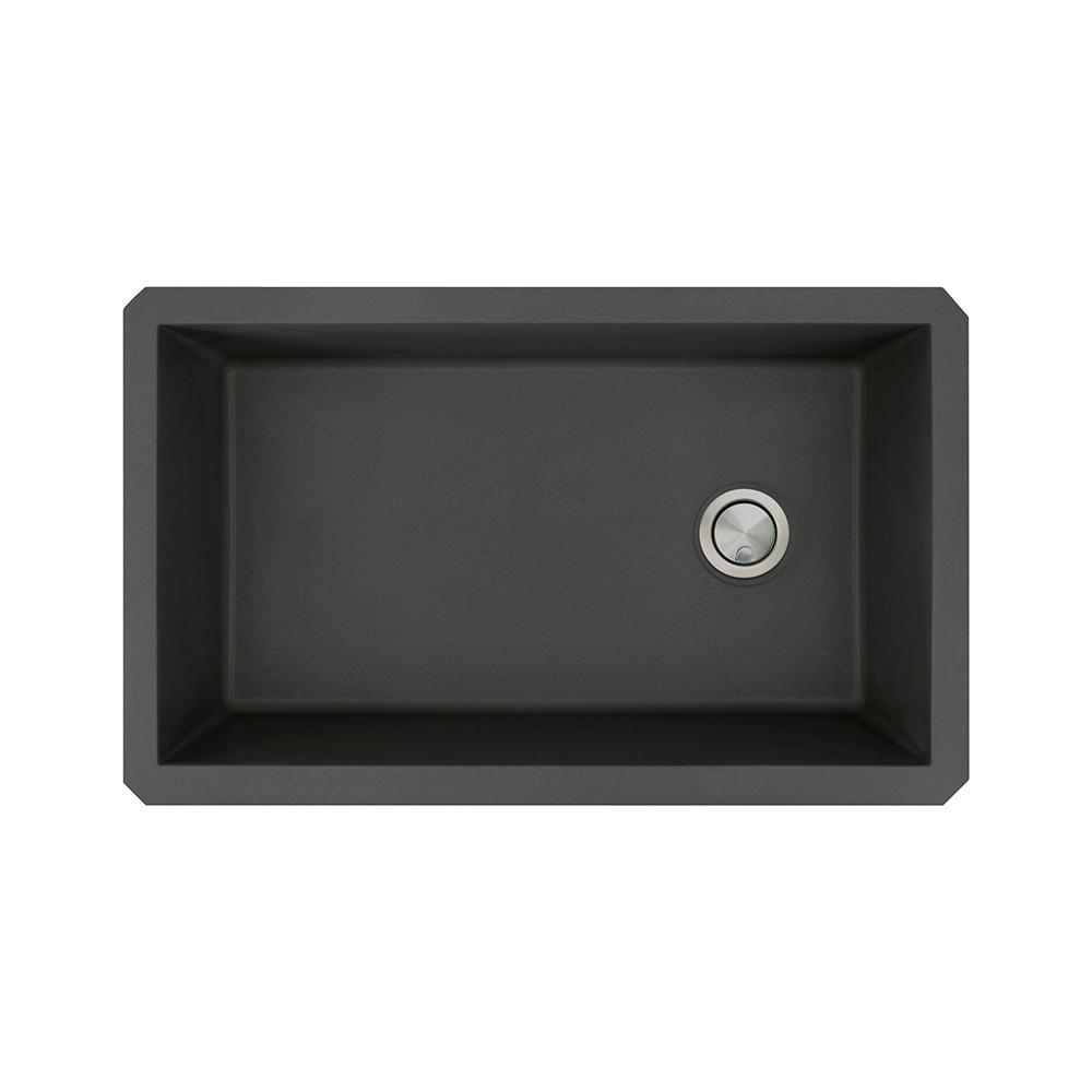 Transolid Radius Undermount Granite 32 in. Single Bowl Kitchen Sink in Black