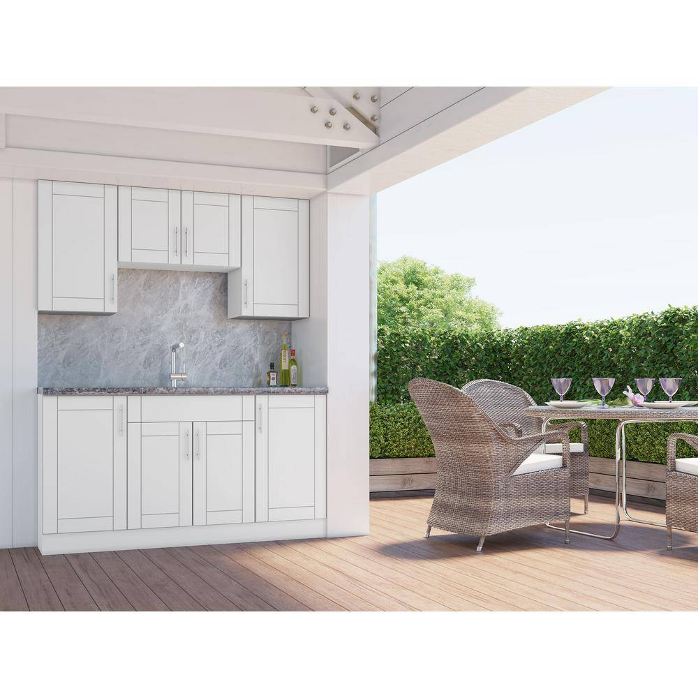 WeatherStrong Sanibel Shell White 22-Piece 67.25 in. x 84 in. x 25 in. Outdoor Kitchen Cabinet Set