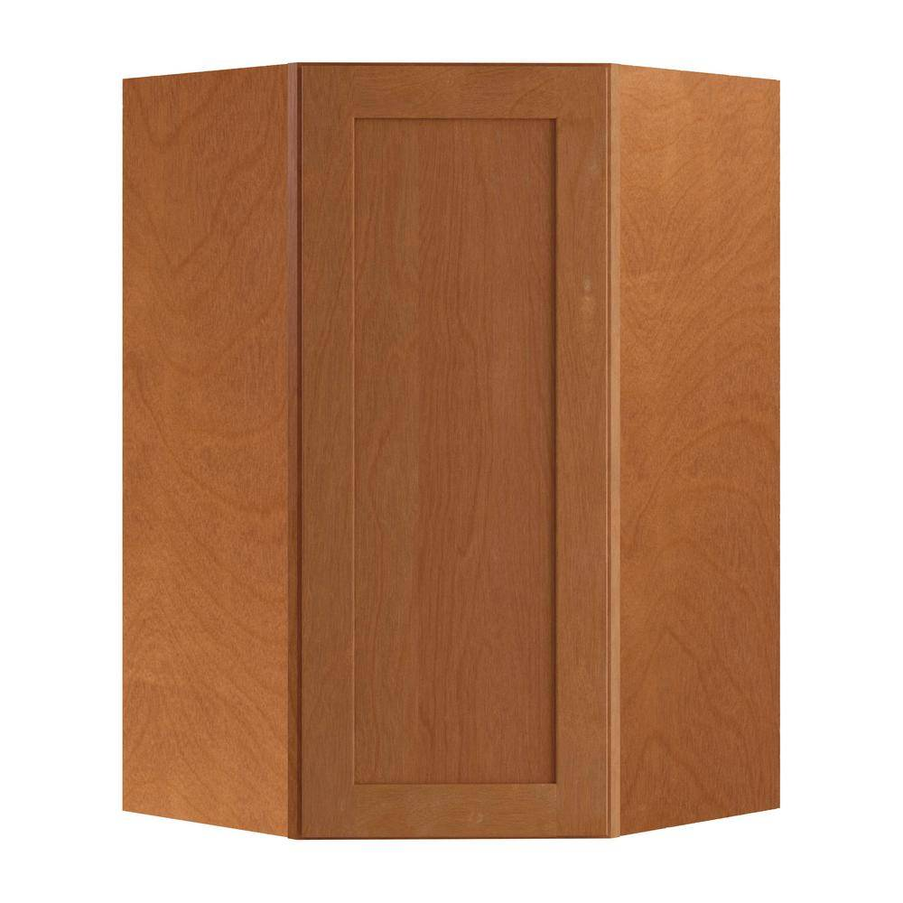 Home Decorators Collection Hargrove Assembled 27x42x15 in. Plywood Shaker Wall Angle Corner Kitchen Cabinet Soft Close Right in Stained Cinnamon, Red