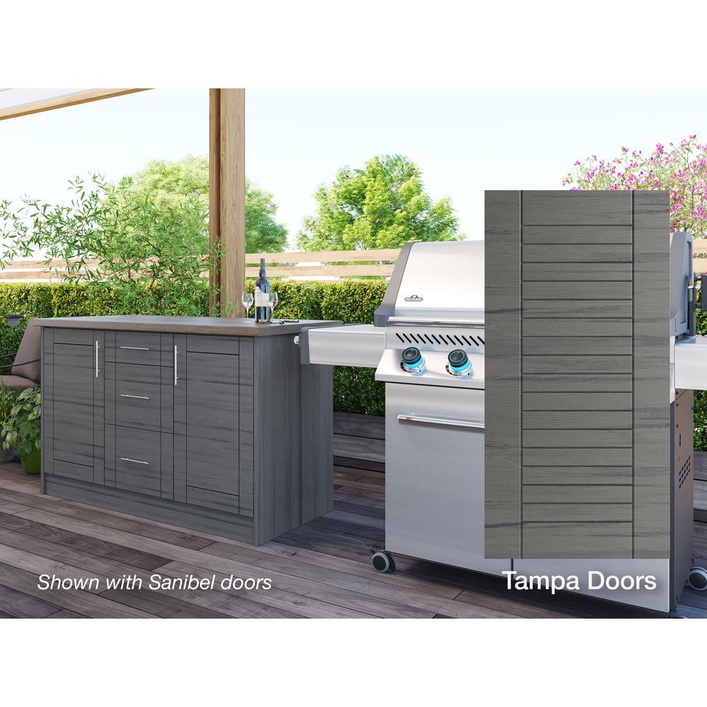 WeatherStrong Tampa Dark Ash 14-Piece 55.25 in. x 34.5 in. x 25.5 in. Outdoor Kitchen Cabinet Island Set