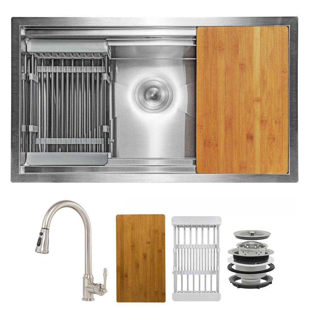 AKDY Handmade All-in-One Undermount Stainless Steel 32 in. x 18 in. Single Bowl Kitchen Sink with Pull-down Faucet Accessory, Brushed Stainless Steel