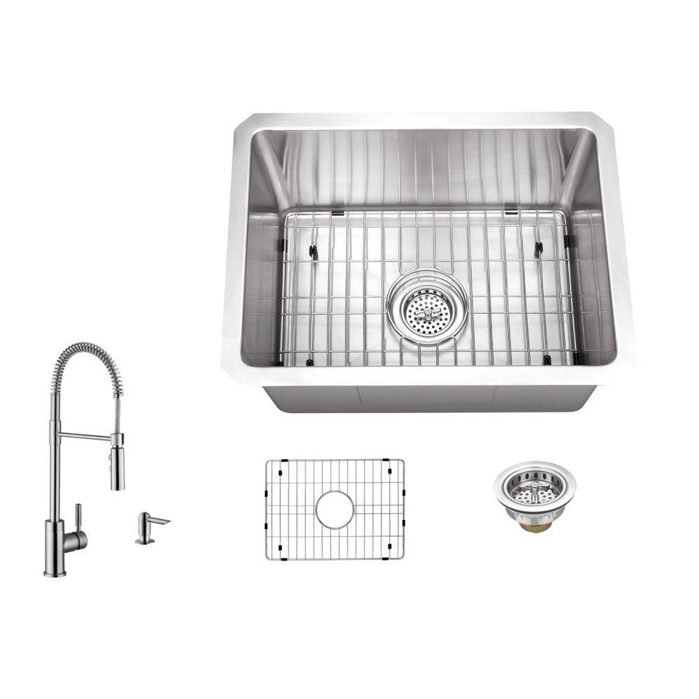 IPT Sink Company 16 Gauge Stainless Steel 15 in. Undermount Radius Bar Sink with Pull Down Faucet and Accessories, Brushed Satin