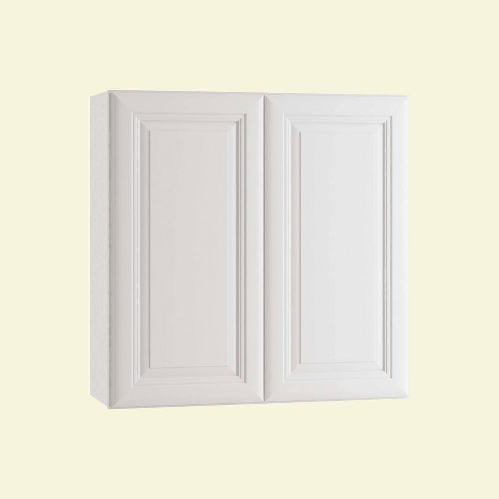 Home Decorators Collection Brookfield Assembled 27 x 30 x 12 in. Plywood Mitered Wall Kitchen Cabinet Soft Close in Painted Pacific White