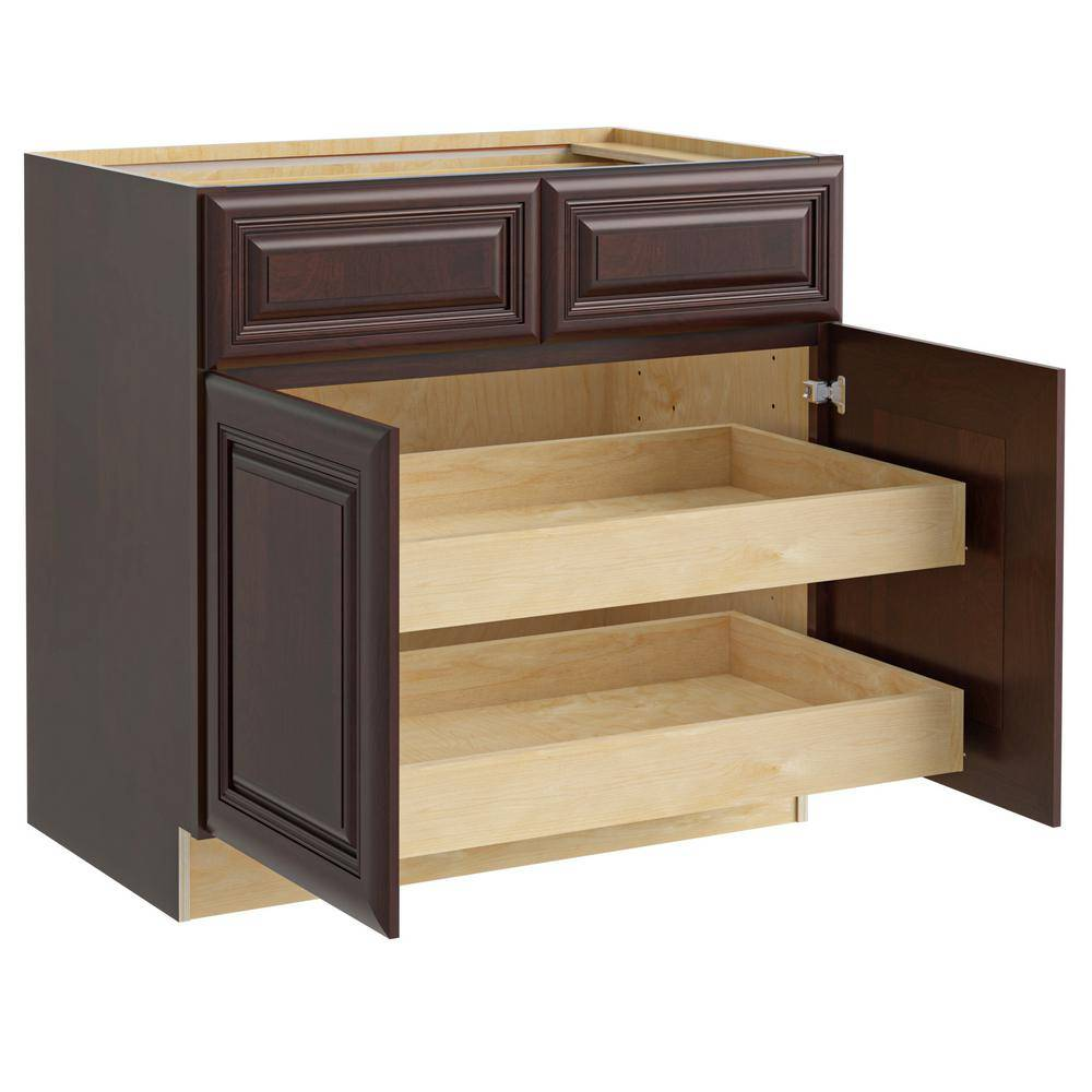 Home Decorators Collection Roxbury Assembled 36x34.5x24 in. Plywood Mitered Base Kitchen Cabinet 2 rollouts Soft Close in Stained Manganite, Manganite Glaze