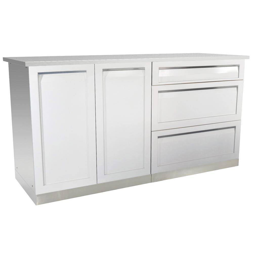 4 Life Outdoor 3-Piece 66 in. x 36 in. x 24 in. Stainless Steel Outdoor Kitchen Cabinet Set with Powder Coated Doors in White