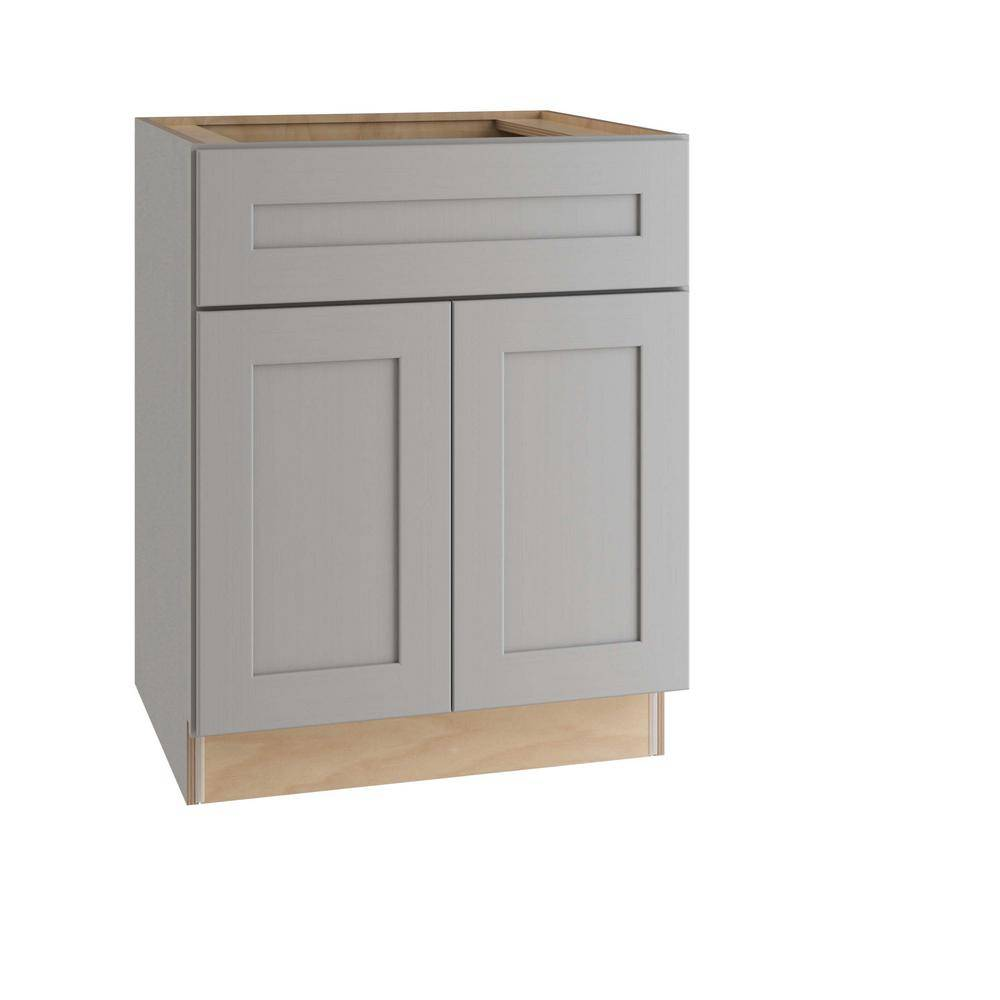 Home Decorators Collection Tremont Assembled 30 x 34.5 x 24 in. Plywood Shaker Base Kitchen Cabinet Soft Close Doors/Drawers in Painted Pearl Gray, Gray Painted