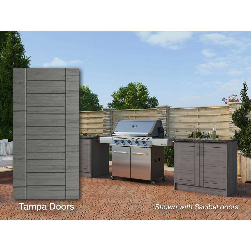 WeatherStrong Tampa Dark Ash 16-Piece 73.25 in. x 34.5 in. x 25.5 in. Outdoor Kitchen Cabinet Island Set