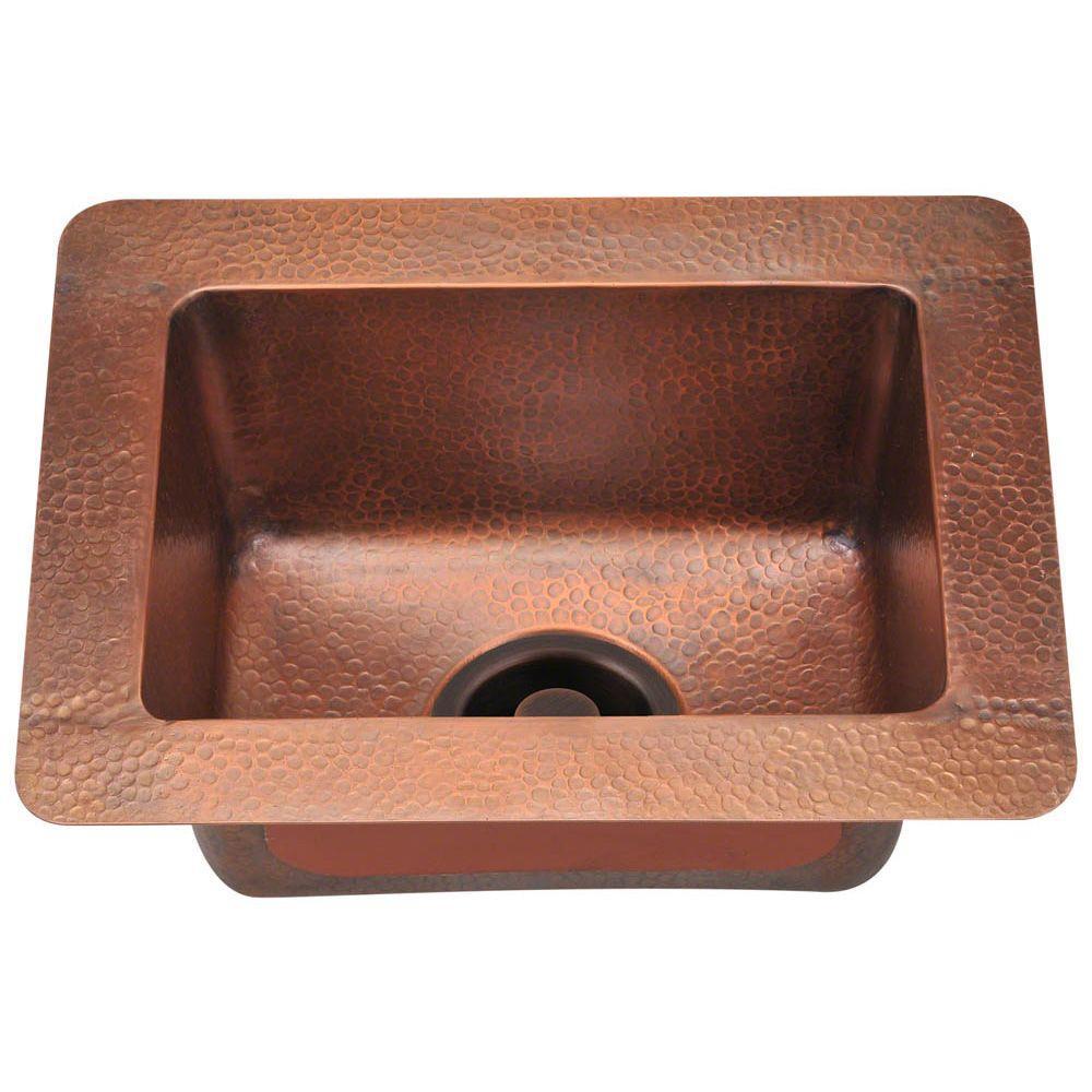Polaris Sinks Undermount Copper 17 in. Single Bowl Kitchen Sink, Brown