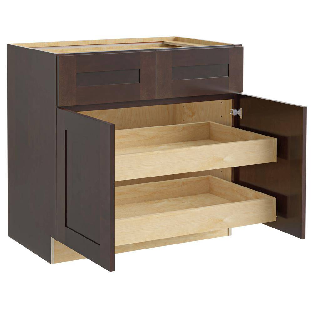 Home Decorators Collection Franklin Assembled 33x34.5x24 in. Plywood Shaker Base Kitchen Cabinet 2 rollouts Soft Close in Stained Manganite, Manganite Glaze