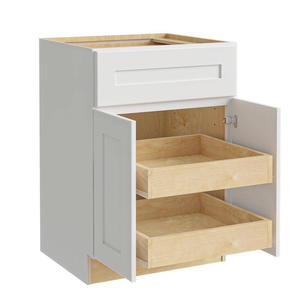Home Decorators Collection Newport Assembled 24x34.5x24 in. Plywood Shaker Base Kitchen Cabinet 2 rollouts Soft Close in Painted Pacific White, Pacific White Painted