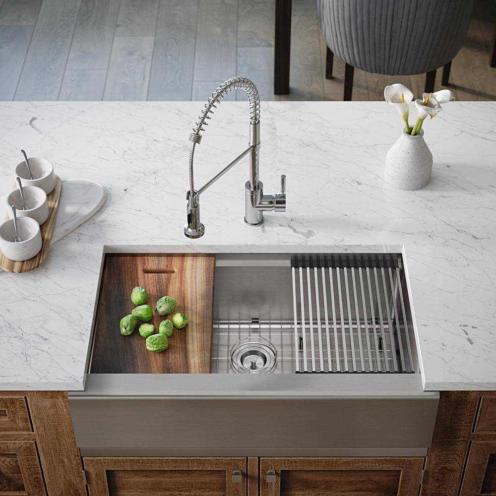MR Direct Stainless Steel 32-3/4 in. Single Bowl Farmhouse Apron Kitchen Sink with Additional Accessories, Brushed Satin