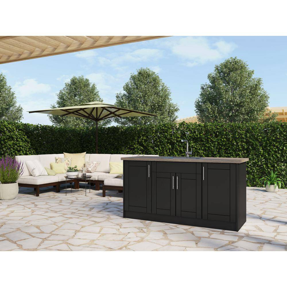 WeatherStrong Sanibel Pitch Black 13-Piece 67.25 in. x 34.5 in. x 25.5 in. Outdoor Kitchen Cabinet Island Set
