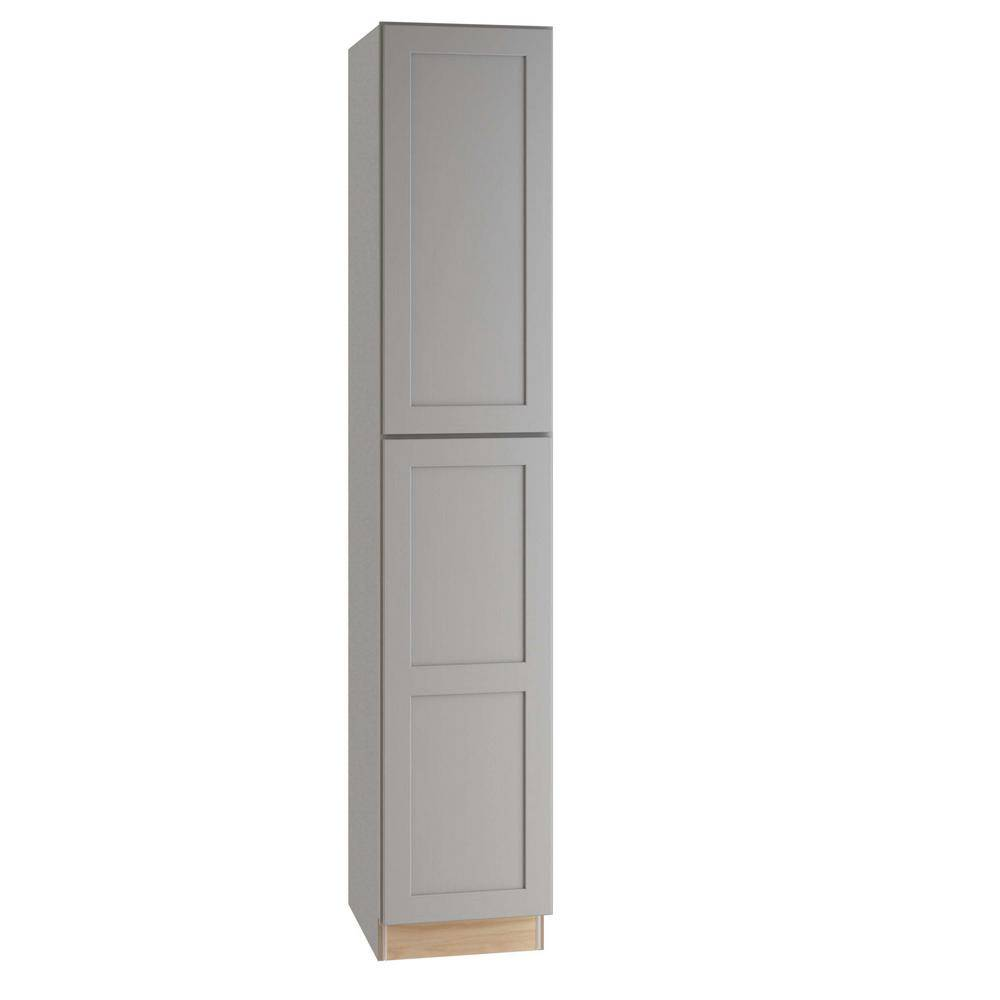 Home Decorators Collection Tremont Assembled 18x96x24 in. Plywood Shaker Utility Kitchen Cabinet Soft Close Left in Painted Pearl Gray, Gray Painted