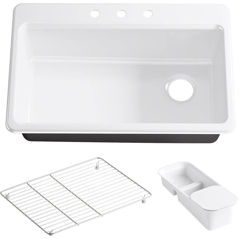 KOHLER Riverby Drop-In Cast Iron 33 in. 3-Hole Single Bowl Kitchen Sink Kit with Accessories in White