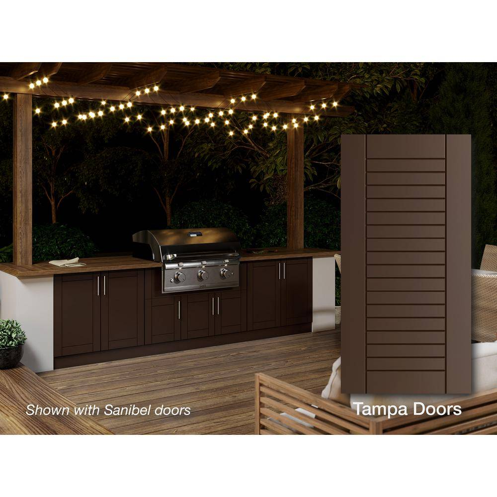 WeatherStrong Tampa Dock Brown 20-Piece 121.25 in. x 34.5 in. x 28.5 in. Outdoor Kitchen Cabinet Island Set