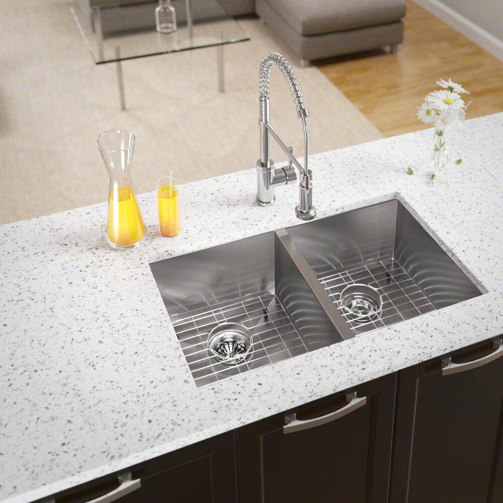 MR Direct Undermount Stainless Steel 32 in. Double Bowl Kitchen Sink with Additional Accessories, Brushed Satin
