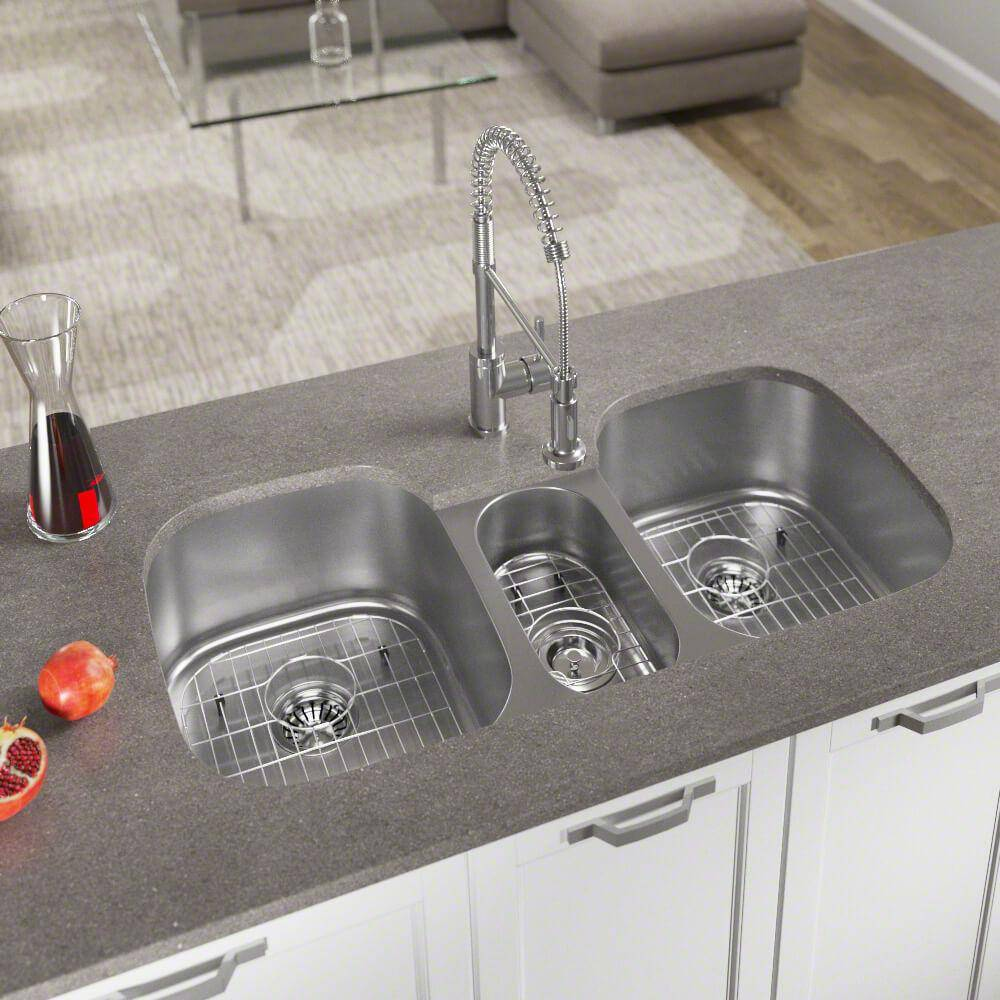 MR Direct Undermount Stainless Steel 43 in. Triple Bowl Kitchen Sink with Additional Accessories, Brushed Satin