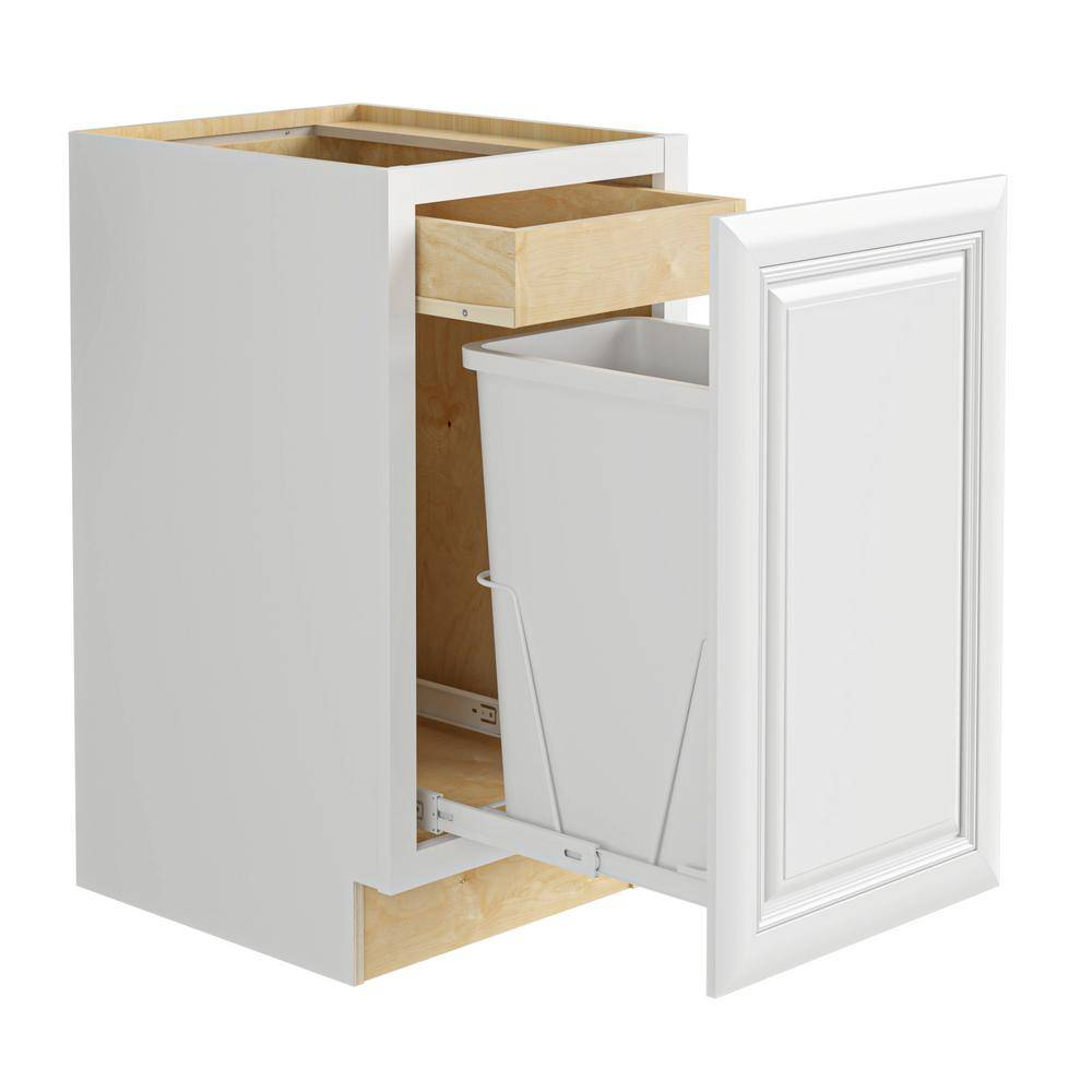 Home Decorators Collection Brookfield Assembled 15x34.5x24 in. Plywood Mitered Single Wastebasket Base Kitchen Cabinet in Painted Pacific White