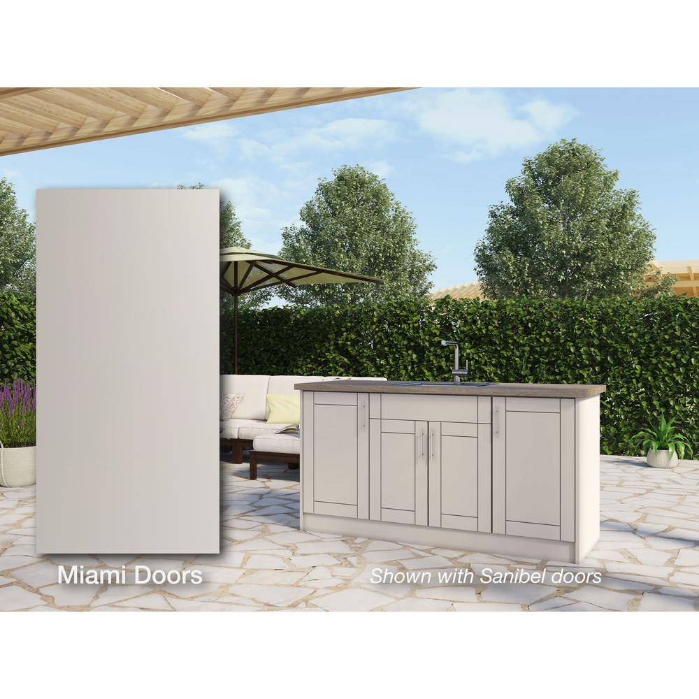 WeatherStrong Miami Shoreline Gray 13-Piece 67.25 in. x 34.5 in. x 25.5 in. Outdoor Kitchen Cabinet Island Set