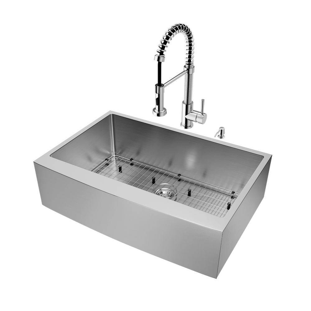 VIGO Bedford Stainless Steel 33 in. Single Bowl Farmhouse Apron-Front Kitchen Sink with Edison Faucet and Accessories, Silver