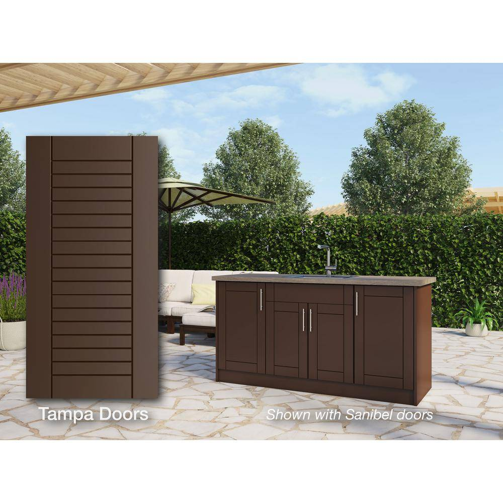 WeatherStrong Tampa Dock Brown 13-Piece 67.25 in. x 34.5 in. x 25.5 in. Outdoor Kitchen Cabinet Island Set