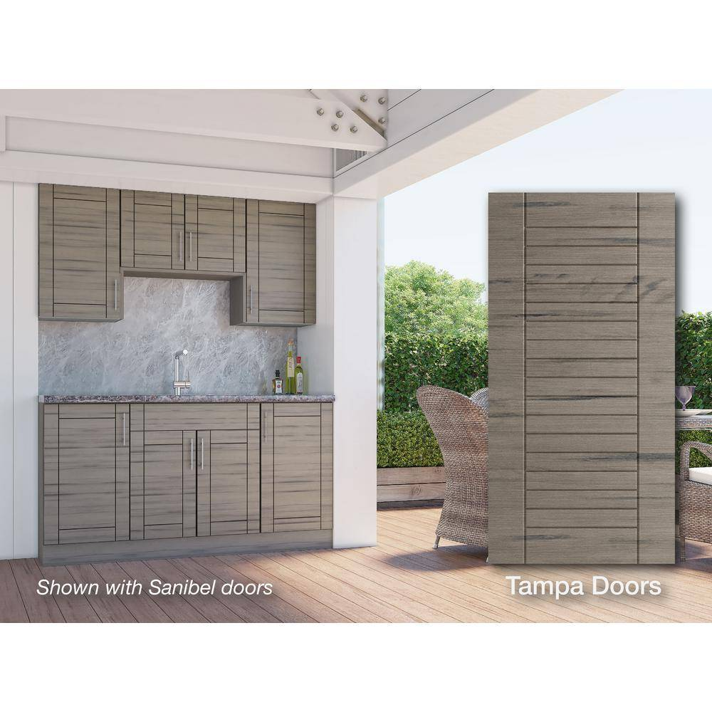 WeatherStrong Tampa Weatherwood 22-Piece 67.25 in. x 84 in. x 25 in. Outdoor Kitchen Cabinet Set