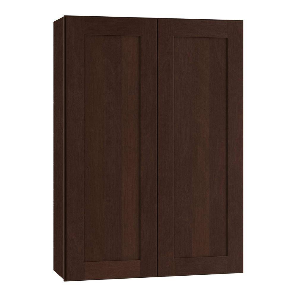 Home Decorators Collection Franklin Assembled 24 x 42 x 12 in. Plywood Shaker Wall Kitchen Cabinet Soft Close in Stained Manganite, Manganite Glaze Stain