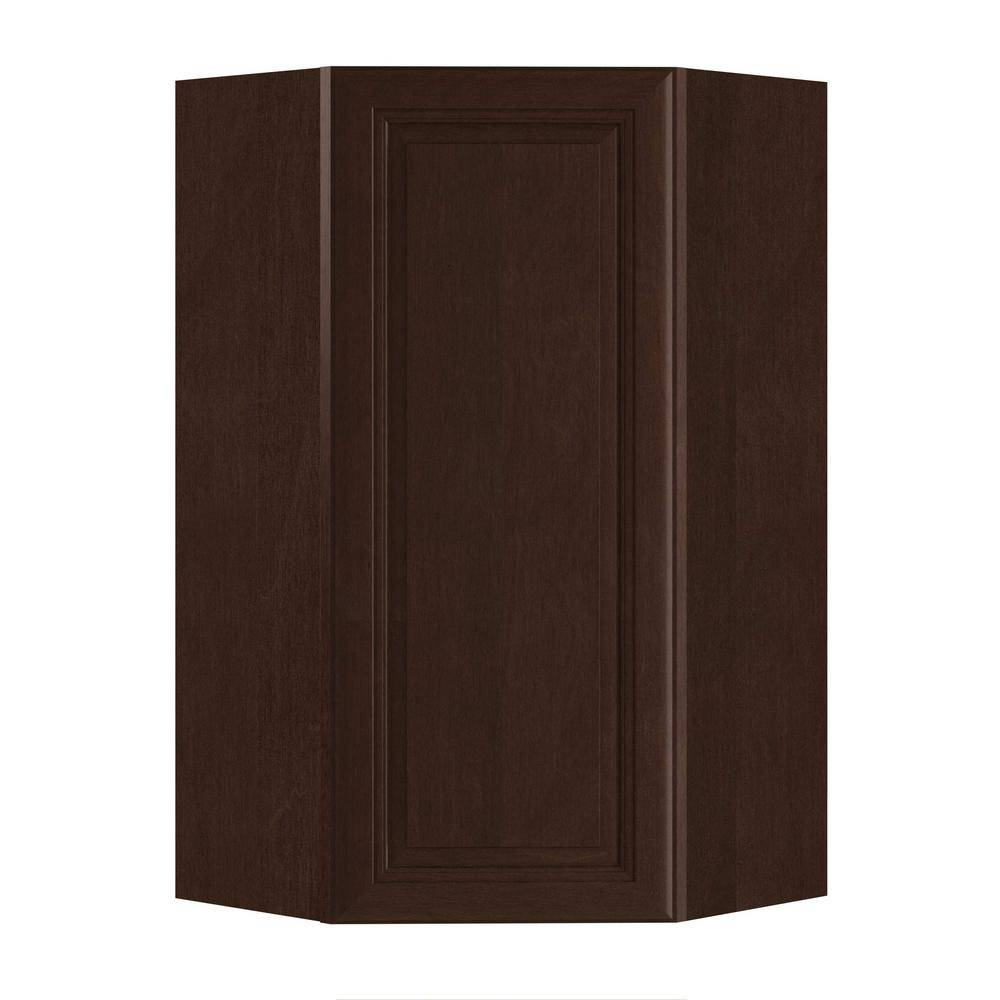 Home Decorators Collection Roxbury Assembled 24x42x12 in. Plywood Mitered Wall Angle Corner Kitchen Cabinet Soft Close Left in Stained Manganite, Manganite Glaze