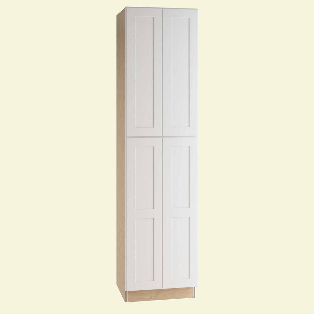 Home Decorators Collection Newport Assembled 24x90x24 in. Plywood Shaker Utility Kitchen Cabinet Soft Close in Painted Pacific White