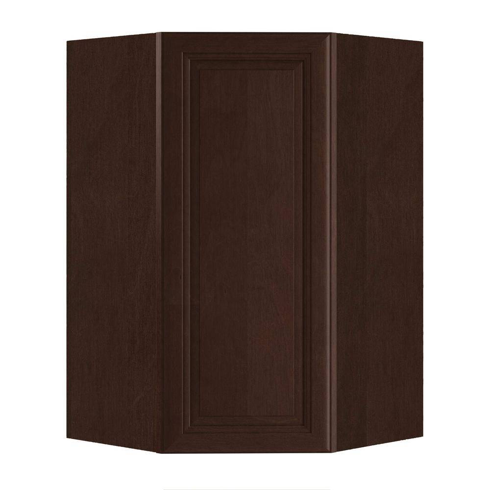 Home Decorators Collection Roxbury Assembled 27x42x15 in. Plywood Mitered Wall Angle Corner Kitchen Cabinet Soft Close Left in Stained Manganite, Manganite Glaze