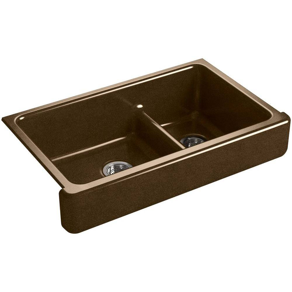 KOHLER Whitehaven Undermount Farmhouse Short Apron-Front Cast Iron 36 in. Double Bowl Kitchen Sink in Black 'n Tan