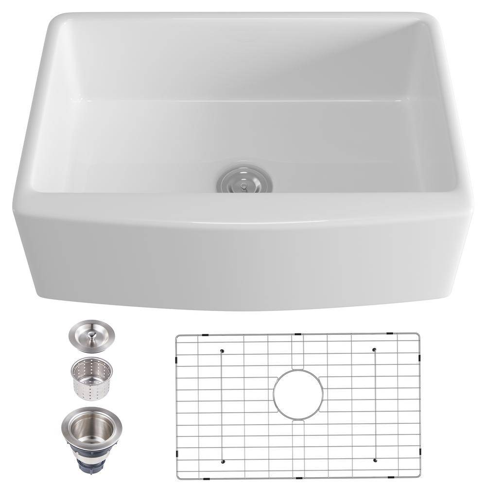 VANITYFUS Ceramic 30 in. Single Bowl Farmhouse Apron Kitchen Sink with Grid and Strainer, White