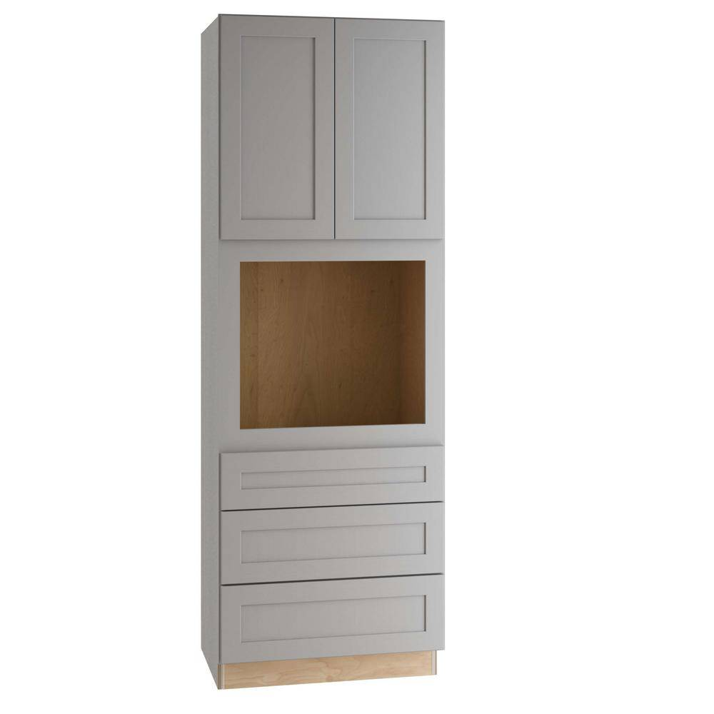 Home Decorators Collection Tremont Assembled 33x90x24 in. Plywood Shaker Oven Kitchen Cabinet Soft Close in Painted Pearl Gray, Gray Painted