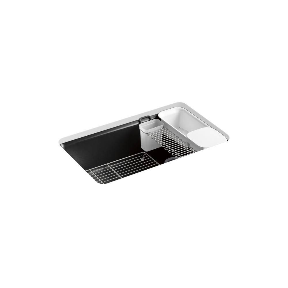 KOHLER Riverby Undermount Cast-Iron 33 in. 5-Hole Single Bowl Kitchen Sink Kit with Accessories in Black, Black Black