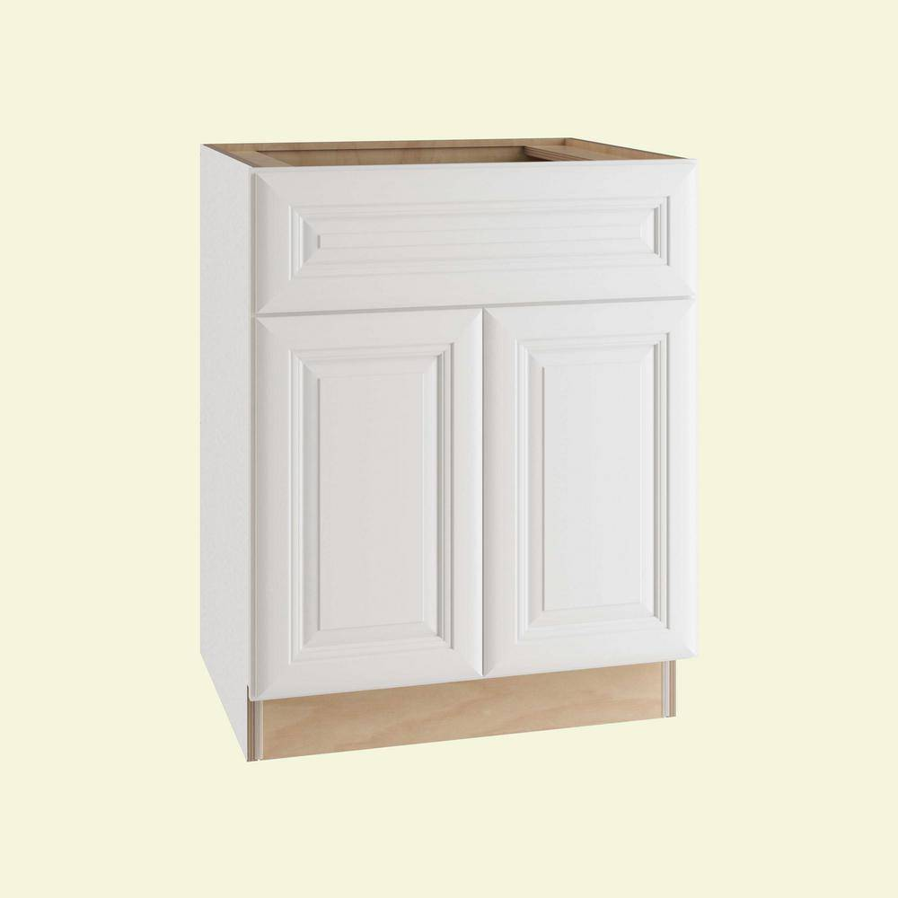 Home Decorators Collection Brookfield Assembled 24x34.5x24 in. Plywood Mitered Base Kitchen Cabinet Soft Close Door/Drawer in Painted Pacific White