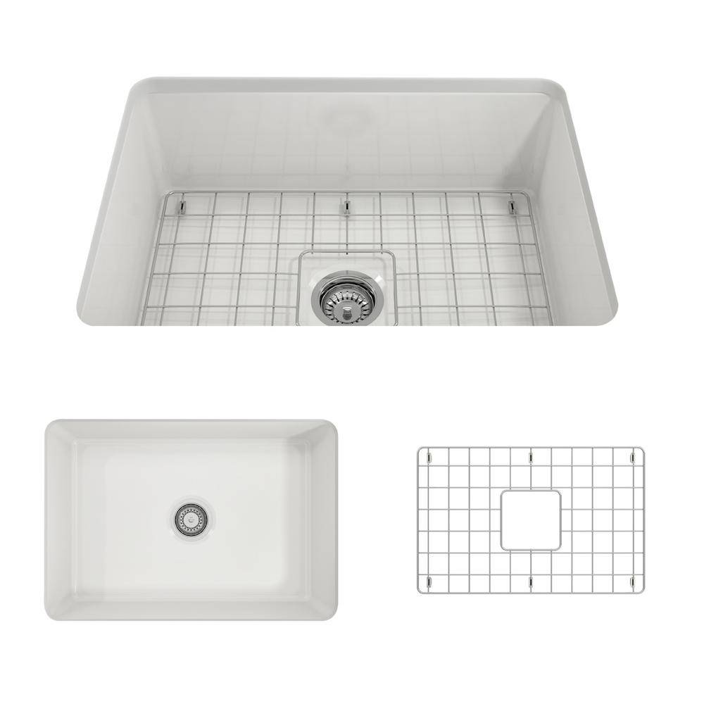BOCCHI Sotto Undermount Fireclay 27 in. Single Bowl Kitchen Sink with Bottom Grid and Strainer in White
