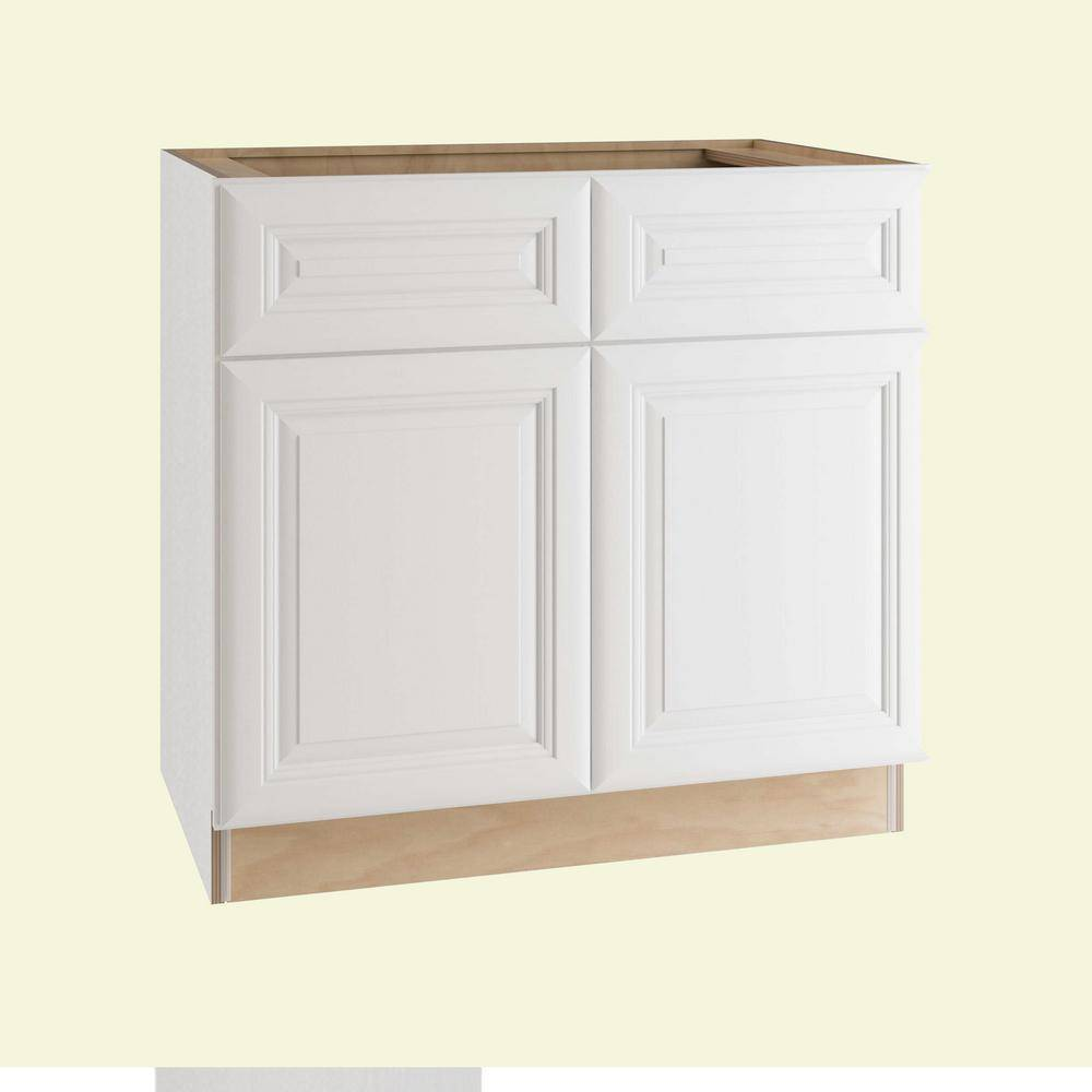 Home Decorators Collection Brookfield Assembled 36x34.5x24 in. Plywood Mitered Sink Base Kitchen Cabinet Soft Close Doors in Painted Pacific White